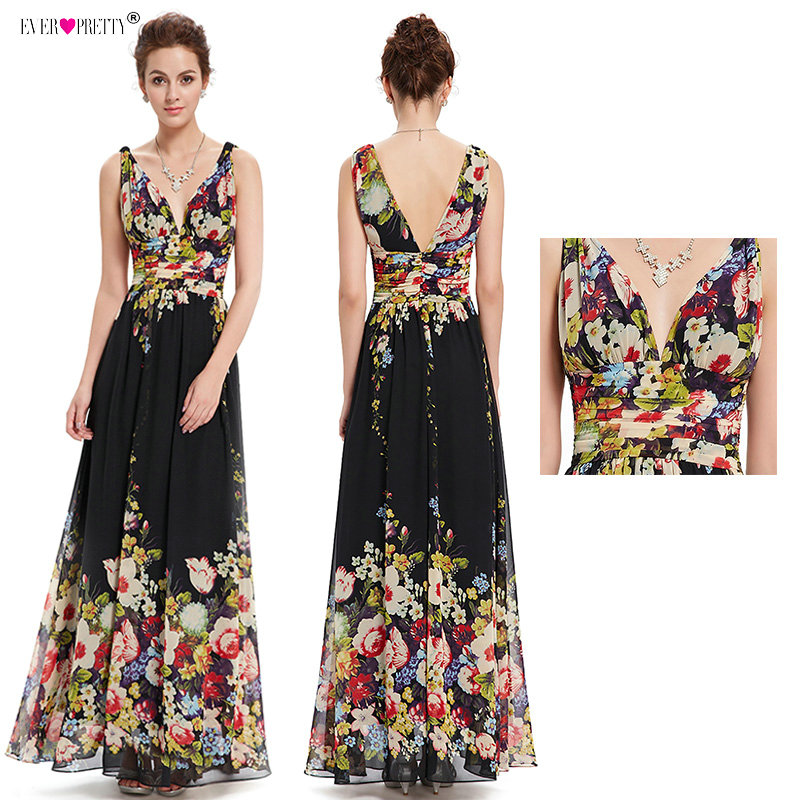 Sexy Double V-neck Sleeveless Black Long Flower Print Chiffon Formal   Evening     Dress   2018 Ever Pretty EP09016 Formal Gowns