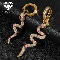 WIN-B популярные серьги красочные ювелирные изделия Творческий Мода Панк кубического циркония уха форма змеи длинные висячие серьги для женщ...