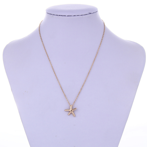 Long Gold Chain Blue Starfish Design Statement Simple Dainty Necklace