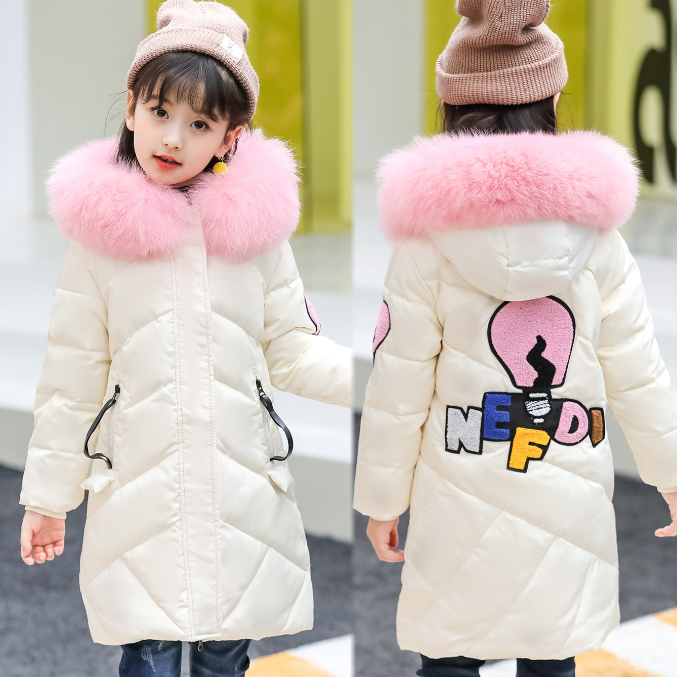 2017 New Winter Russia Children Cartoon Long Duck Down & Parkas Teenage Girls Down Jackets & Coats Fur Collar Outwear -30 Degree duck down jacket for boys 2017 russia winter warm thick down parkas children casual fur hooded jackets coats 30 degrees
