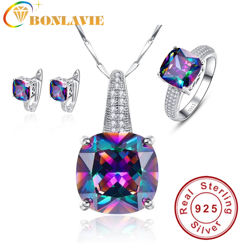 Round Real Rainbow Mystic Colorful Topaz Pendant Necklace/Ring/Earring For Women Wedding Gift Jewelry Set 925 Sterling-Silver
