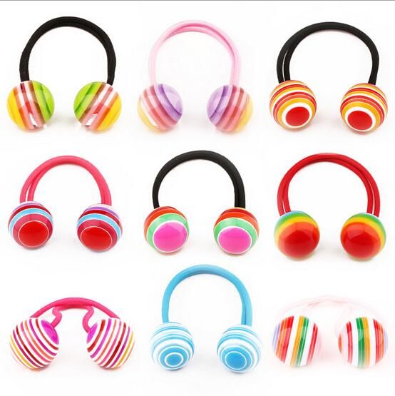 stylingtool Striped Ball Elastische haarbanden accessoires maken je Beautiful gebruikt door vrouwen jong meisje en kinderen