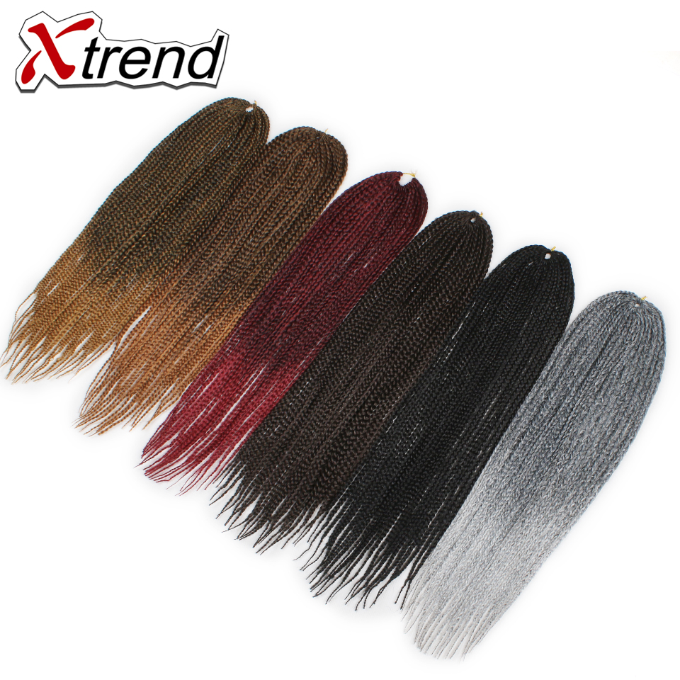 Xtrend 3PCS Box Braids Crochet Hair Extensions 14 18 22inch Ombre Grey Burgundy Synthetic Kanekalon Braiding Fiber Hair 22stands