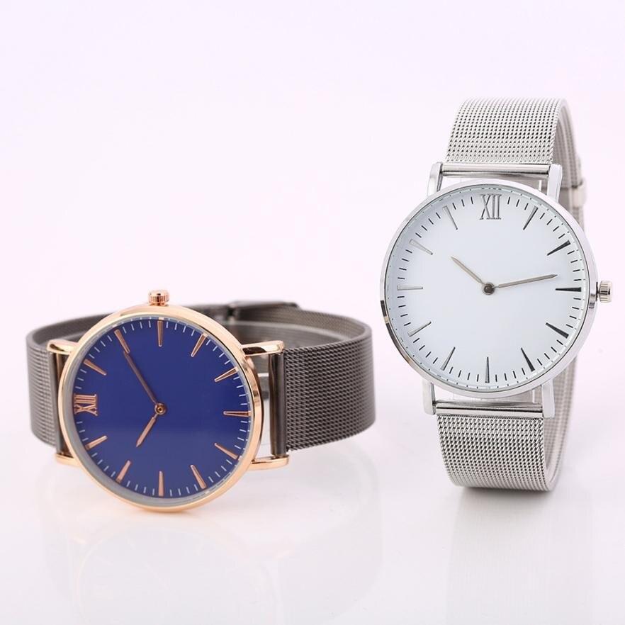 Top Brands Classic Women Men Lovers Business Simple Dial Steel Mesh Band Analog Quartz Wrist Watch xfcs saat Uhren relogios gift