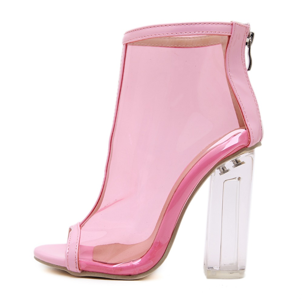 6455e9aa75d7 Pink White Women Summer PVC Clear Heel Transparent Boots Peep Toe Ankle  Boots Bootie Block High Heel Pumps Sandals-in Ankle Boots from Shoes on ...