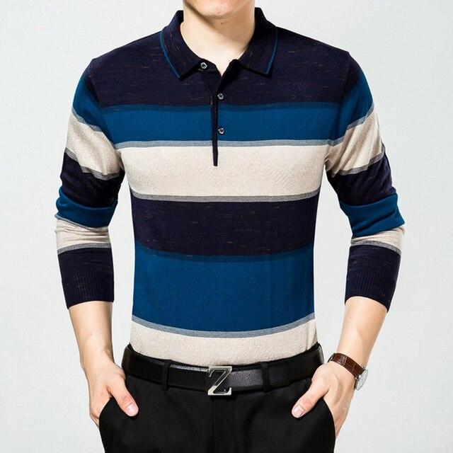 Бренд Мужской рубашки Поло 2016 с длинным рукавом отложным воротником Лишенный Среднего возраста мода camisa поло бизнес мужчины одежда плюс размер
