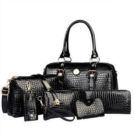 2017 High quality patent Leather Crocodile Pattern Women font b Handbag b font Crossbody bag Shoulder