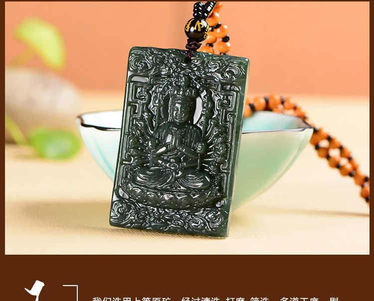 Verde Escuro Natural HETIAN Nephrite Pingente de Mão-Cinzelado Mil Mãos Jade Kwan Yin-Rodada Colar da Forma Dos Homens jóias