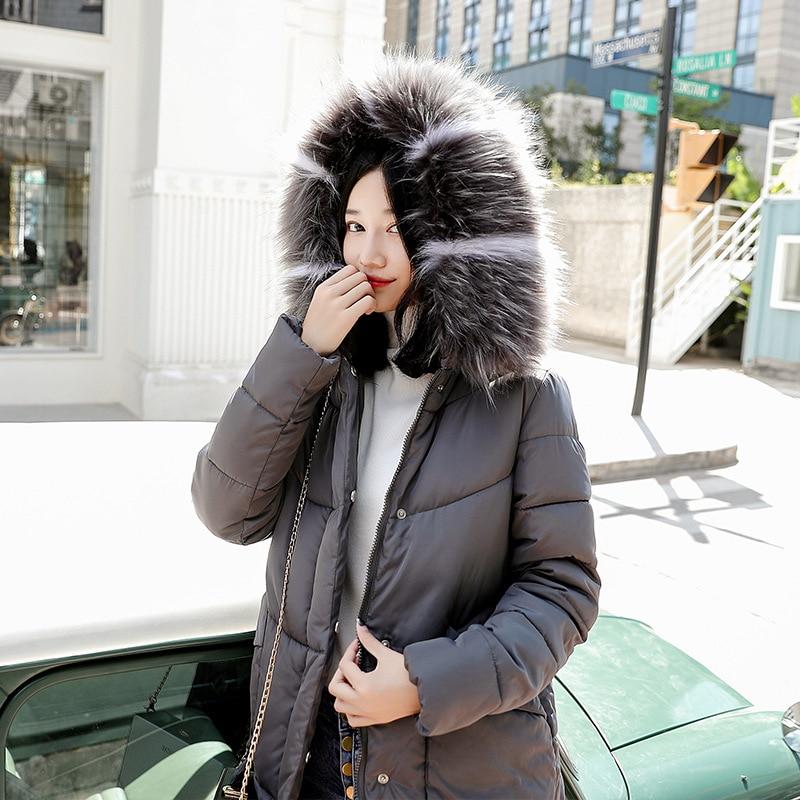 Rembourré De Hiver Coton Mince Décontracté Et Parka Fourrure 2018 Vestes En Capuchon blanc Solide Manteaux À rouge gris Long Noir Col Mujer Femme Mode vtw6qt7