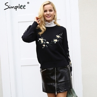 Simplee Embroidery Floral Print Knitting Sweater Women Casual Black Winter Sweater Pullover Autumn Elegant Streetwear Sweater
