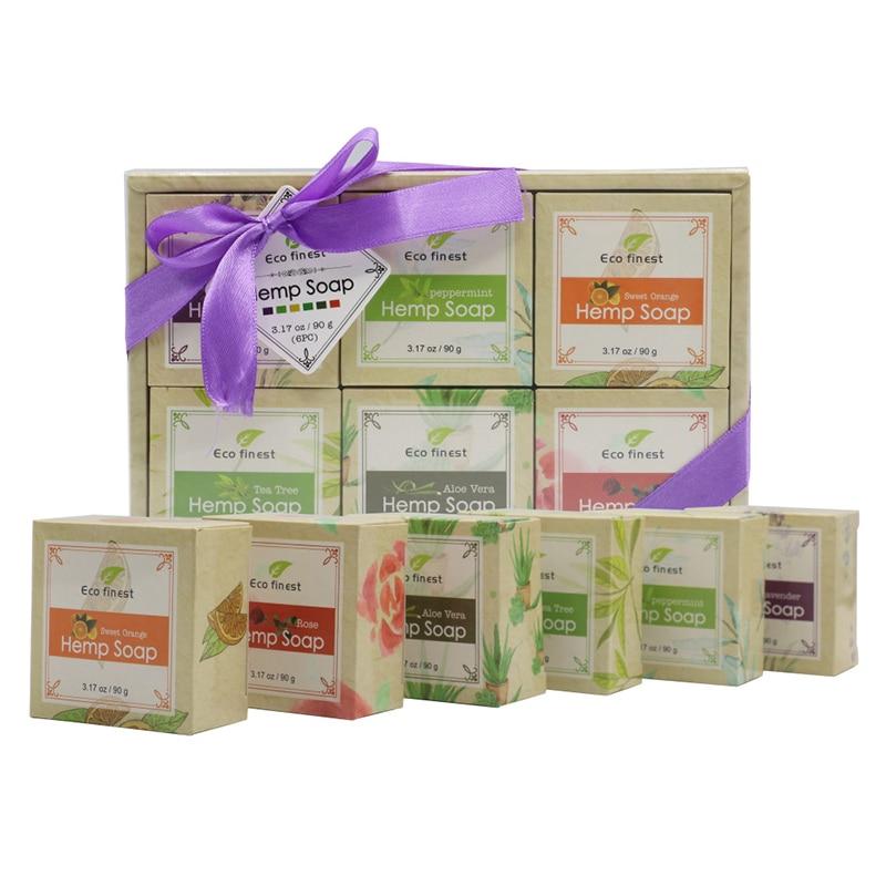 6 Pcs Handmade Hemp Oil Soap Skin Care Revitalizing Scent With Tea Tree Rose Lavender @ME88