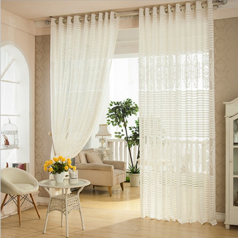 Online Shop Luxury Net Mesh Curtains Embroidered White Elegant