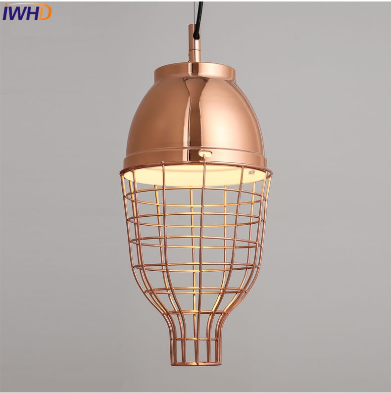 IWHD Led Pendant Lights Modern Fashion Iron Hanging Lamp Creative Cage Luminaire Kitchen Dining Room Hanglamp Home Lighting hghomeart children room iron aircraft pendant light led 110v 220v e14 led lamp boy pendant lights for dining room modern hanging