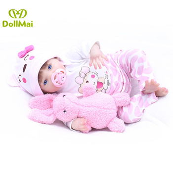 43cm reborn Baby Doll Princess Girl Dolls Soft Silicone Babies Girls Lifelike  bebe real reborn bonecas with rabbit plush doll
