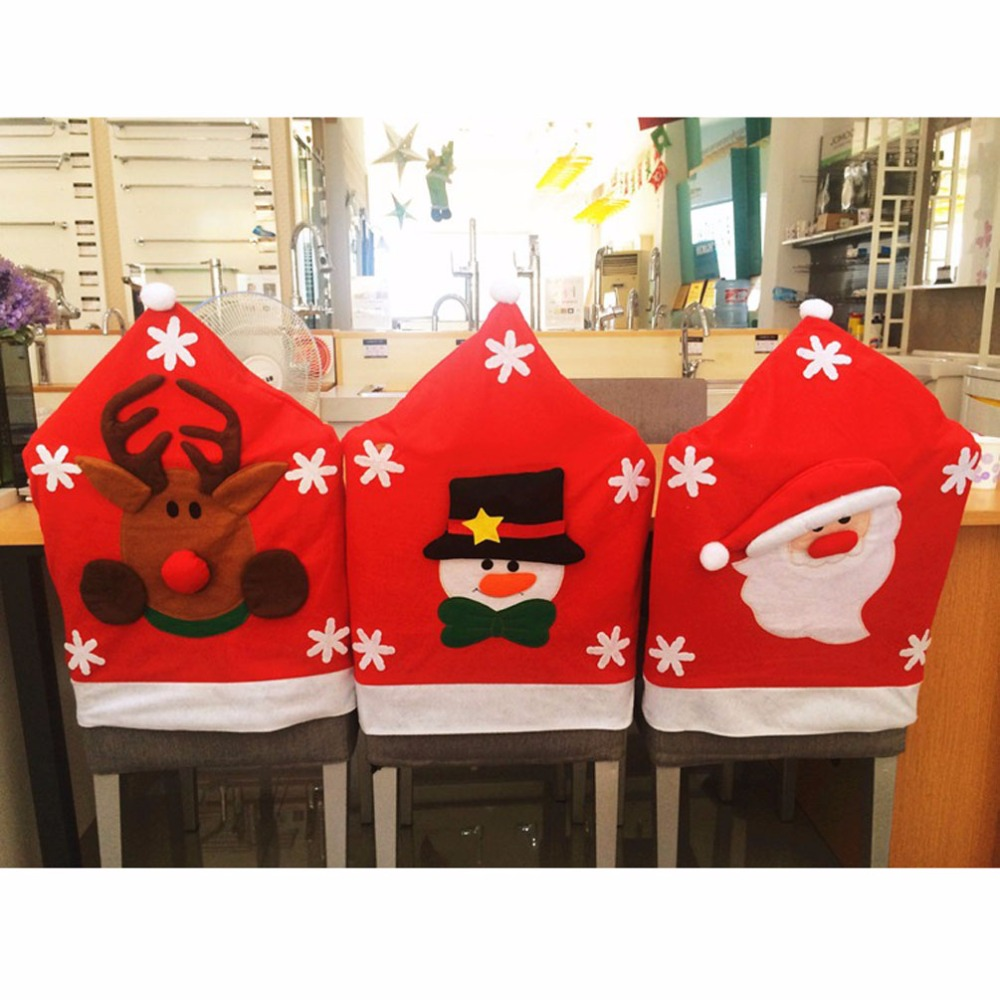Christmas chair covers - 50 65cm Santa Claus Snowman Elk Christmas Chair Cover Indoor Home Xmas Ornament Kitchen Dinner