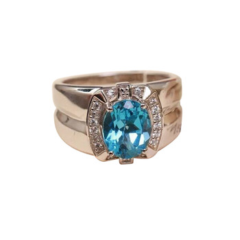 factory wholesale natural gemstone fine jewelry 925 sterling silver natural blue topaz adjustable ring for man