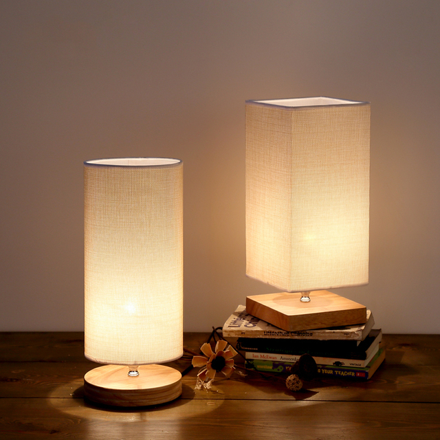 New chinese style wood bedside table lamp desk lights knitted fabric ...