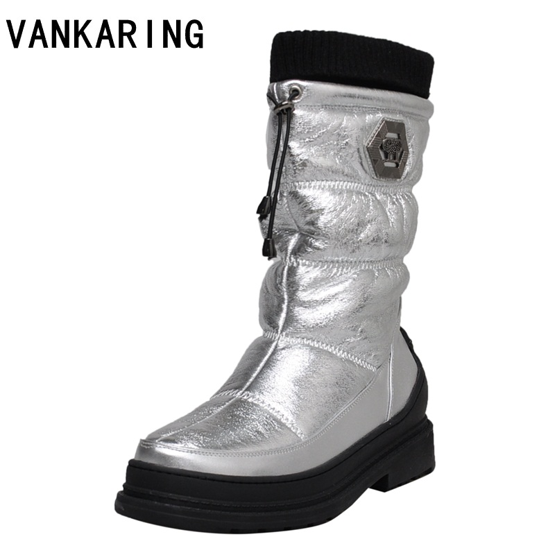 VANKARING fashion winter boots women ankle snow boots flat heel winter shoes warm fur boot mid-calf autumn women's black shoes