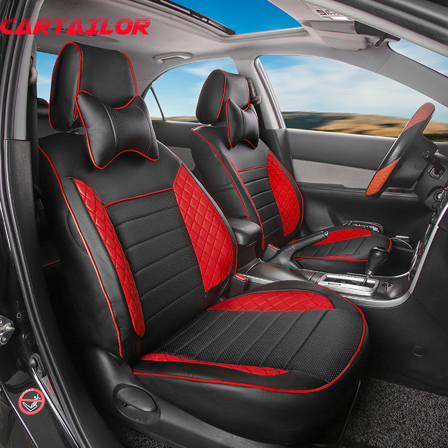 CARTAILOR Car Seat Protectin Fit For Ford Mustang 2015 2016 2017 Cover PU Leather