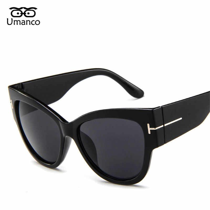 d17cc33ca6d Umanco Large Frame Cat Eye Sunglasses Women Men Vintage Fashion Cateye Sun Glasses  Retro T Letter