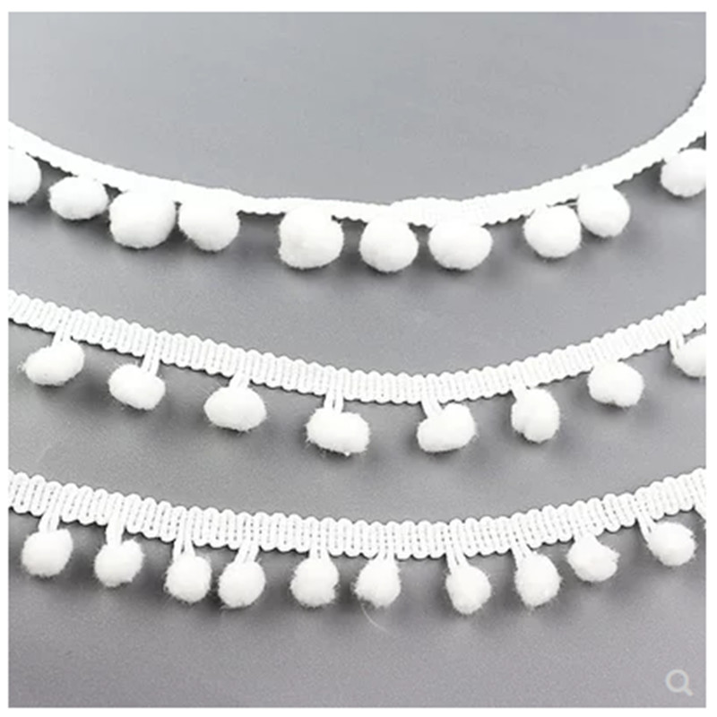 Lace ball Fringe Ribbon 10meter/lot white Pom Trim Ball Sewing Accessory Decoration Fabric Width 1cm
