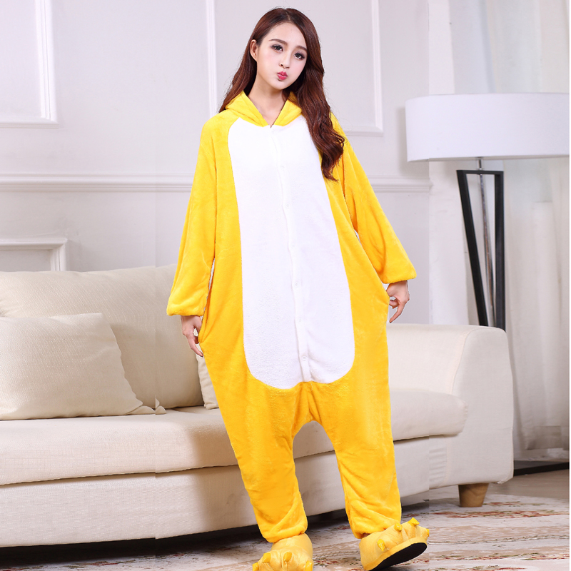 Yellow Chick Kigurumi Onesie For Adults One-Piece Flannel Animal Pajamas For Halloween Jumpsuit Cosplay Party Costume Sleepwear (2)