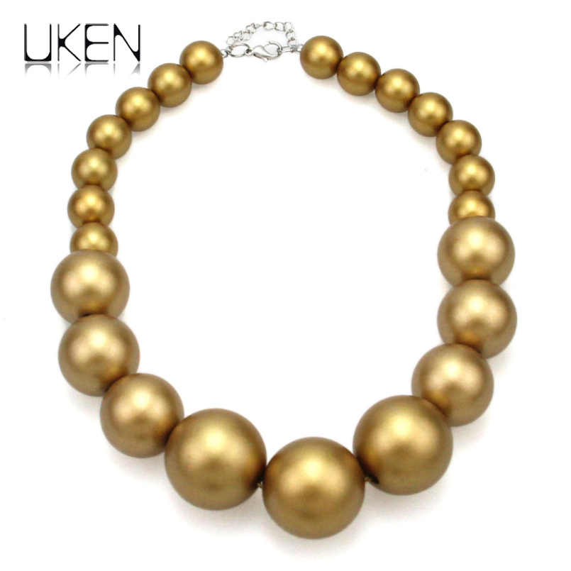 UKEN Women Imitation Pearl Beads Chain Maxi Necklace Fashion Jewelry Statament Choker Necklace For Dress Accessories
