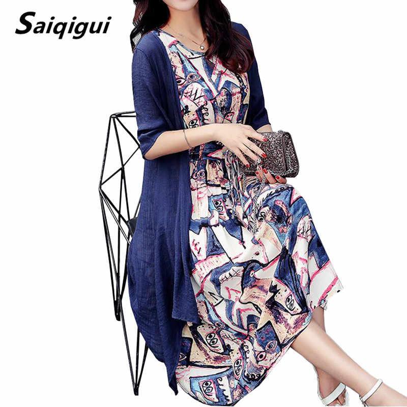Saiqigui летнее платье женское платье повседневное свободное платье из хлопчатобумажной ткани с круглым вырезом и принтом плюс размер vestidos de festa M-5XL