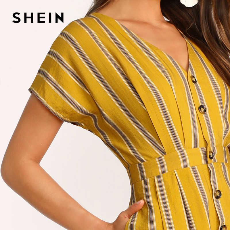 SHEIN модное платье-рубашка в полоску с рукавом летучая мышь и карманами сбоку, платье с высокой талией в стиле бохо, имбирное летнее платье с v-образным вырезом и коротким рукавом 2019