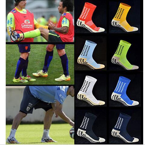 Новые противоскользящие футбольные носки, мужские хлопковые носки хорошего качества того же типа, что и Trusox ZK008