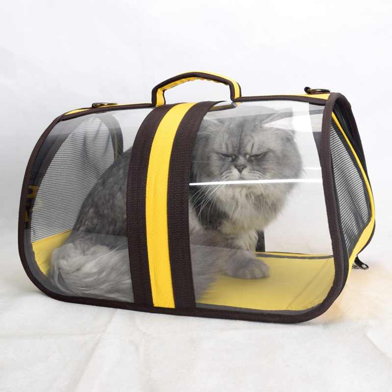 f5cced1e75 Pet Carrier Folding Cat Pack Pet Backpack Cat Dog Universal Travel Out Carrier  Bag Package Transparent