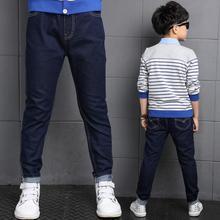 New Big Boy Jean Pant Solid Color Brief Design Kid Denim Trousers Elastci Waist Fashion Stylw Autumn Children Bottoms