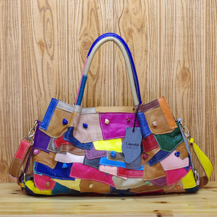 Free shipping Genuine leather casual bag multi-colored colorant match national trend fashion handbag shoulder bag size 53*30cmFree shipping Genuine leather casual bag multi-colored colorant match national trend fashion handbag shoulder bag size 53*30cm
