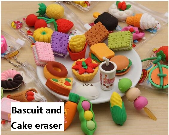 12pack/lot  Kawaii Eraser Food /Vegetable/Cake/ Tool Biscuits Eraser For Kids Lovely  Cute Stationery Children Gift