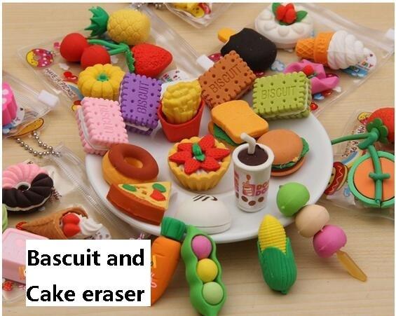 12pack/lot  Kawaii Eraser Food /Vegetable/Cake/ Tool Biscuits Eraser For Kids Lovely  Cute Stationery Children Gift