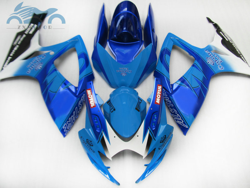Free Custom Injection <font><b>Fairing</b></font> kits for Suzuki <font><b>GSXR</b></font> <font><b>600</b></font> <font><b>2006</b></font> 2007 K6 GSXR600 750 sports <font><b>fairings</b></font> kit GSXR750 06 07 blue Corona image