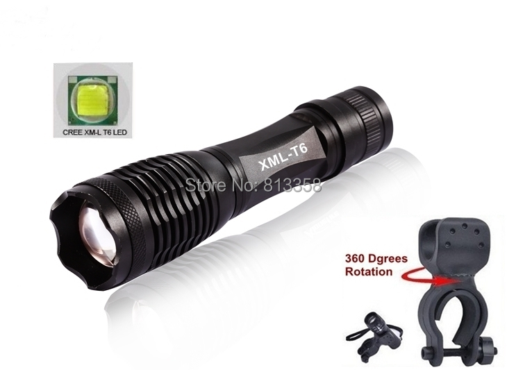 E007 CREE XM-L T6 3800LM  Zoomable bicycle bike cree LED Flashlight Torch  For 3 x AAA or 1x18650 with bicycle light mounts clip zk35 cree xm l 3800 lm q5 led flashlight torch zoomable light black led bicycle light with battery and charger holder