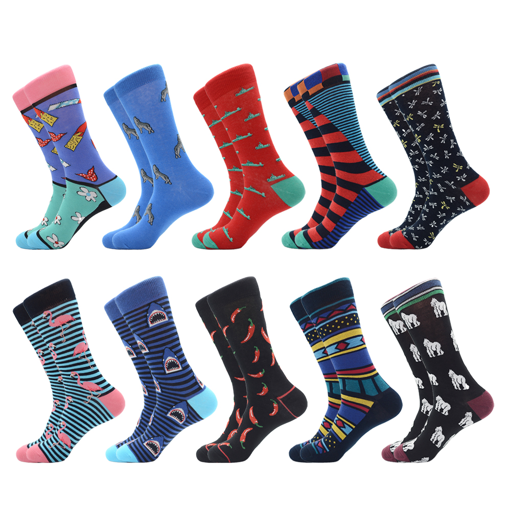 Jhouson 1 Pair Fashion Colorful Men's Combed Cotton Wedding Socks Flamingo Shark Chili Pattern Novelty Casual Funny Socks Gifts