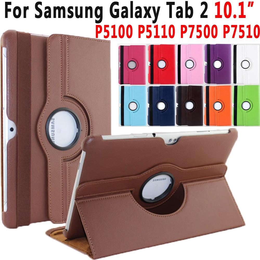 360 Degree Rotating PU Leather Smart Case Cover For Samsung Galaxy Tab 2 10.1 inch P5100 P5110 P7500 P7510 Case Coque Capa Funda кабель samsung m190s p3100 p3110 p5100 p5110 p6210 p6200