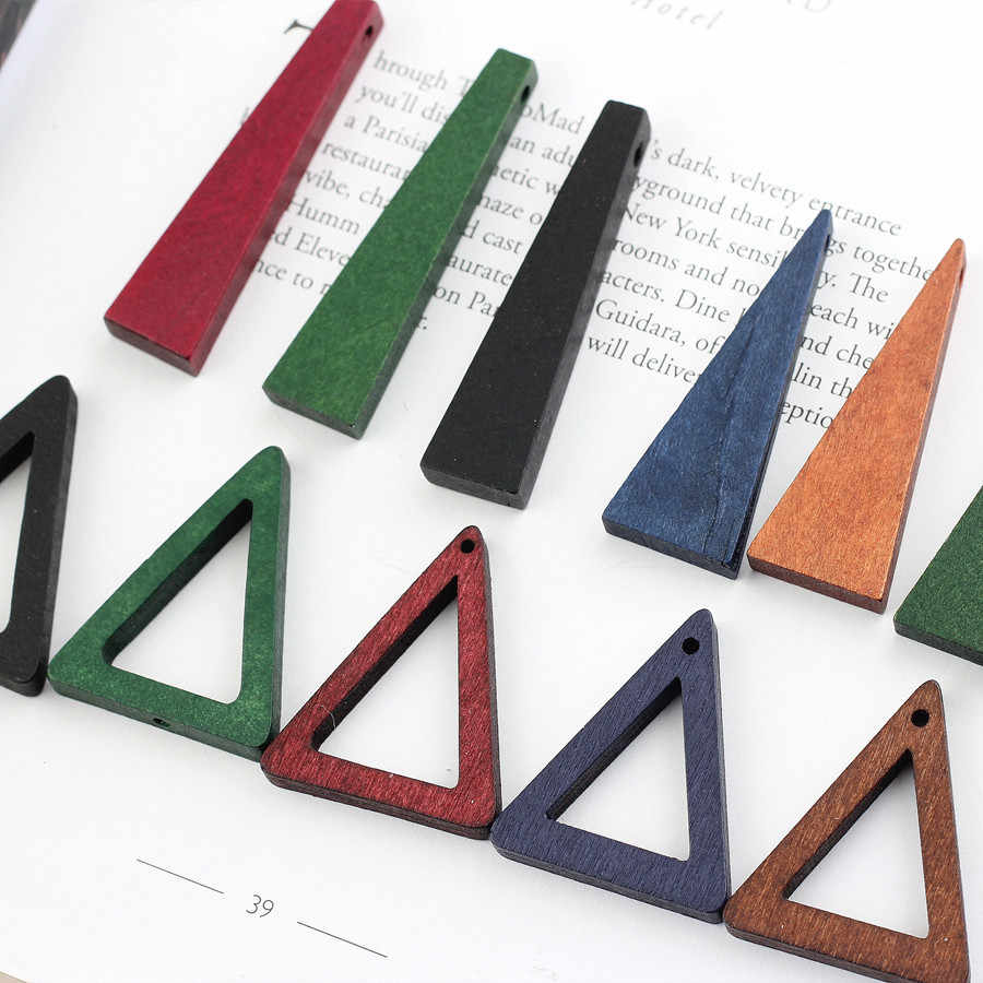 10pc Geometrical Triangle Wood Bead Earring Drop Findings Diy Making Hollow Flat Wooden Ear Stud Necklace Pendant Chock Jewelry