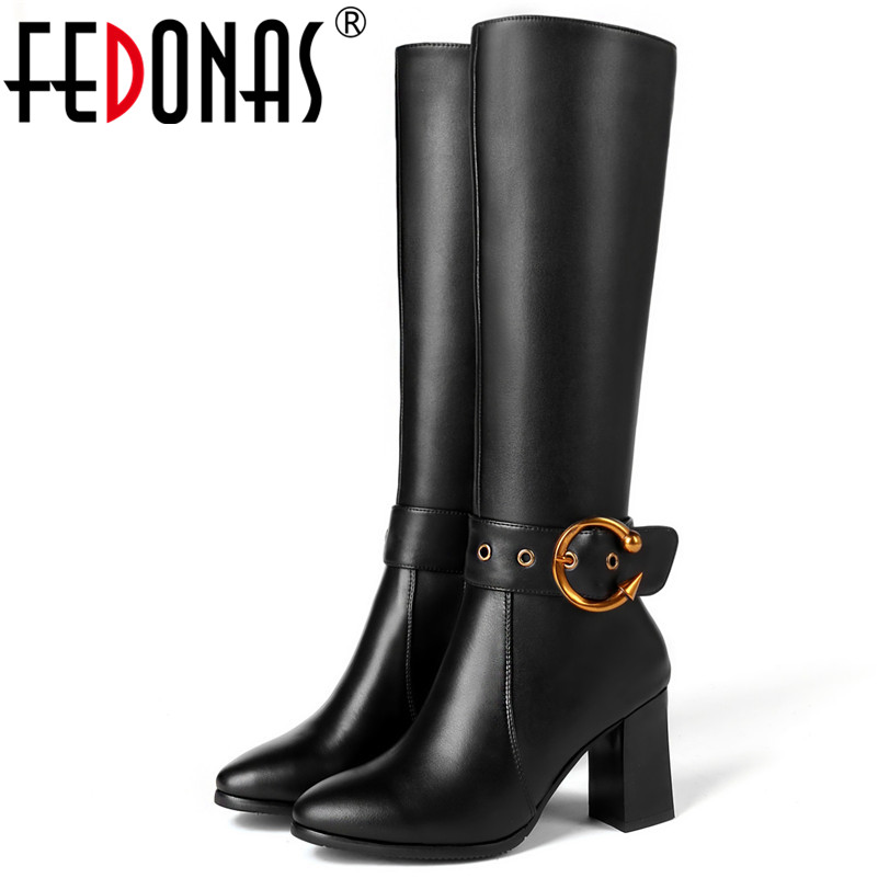 FEDONAS Fashion Brand Women Knee High Boots High Heels Metal Decoration Classic Design Motorcycle Boots Female Knight Boots trendy metal and rhinestones design women s knee high boots