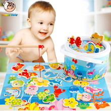 лучшая цена Children 3D Magnetic Fishing Puzzle  Wooden Toys Cartoon Animals Traffic Jigsaw Tangram Kids Educational Toy for Children