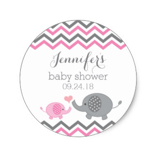 3 8cm Elephant Baby Shower Stickers Pink Gray Chevron In Stickers
