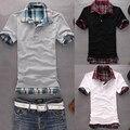 Мужчины Случайный Двойной Слой Ложные Две Части Хлопка С Коротким Рукавом Пуловер Рубашки Поло