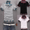 Men Casual Double-Layer False Two Pieces Cotton Short Sleeve Pullover Polo Shirt