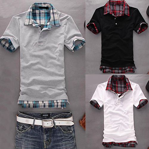 New Arrival Men Casual Double-Layer False Two Pieces Cotton Short Sleeve Pullover   Polo   Shirt