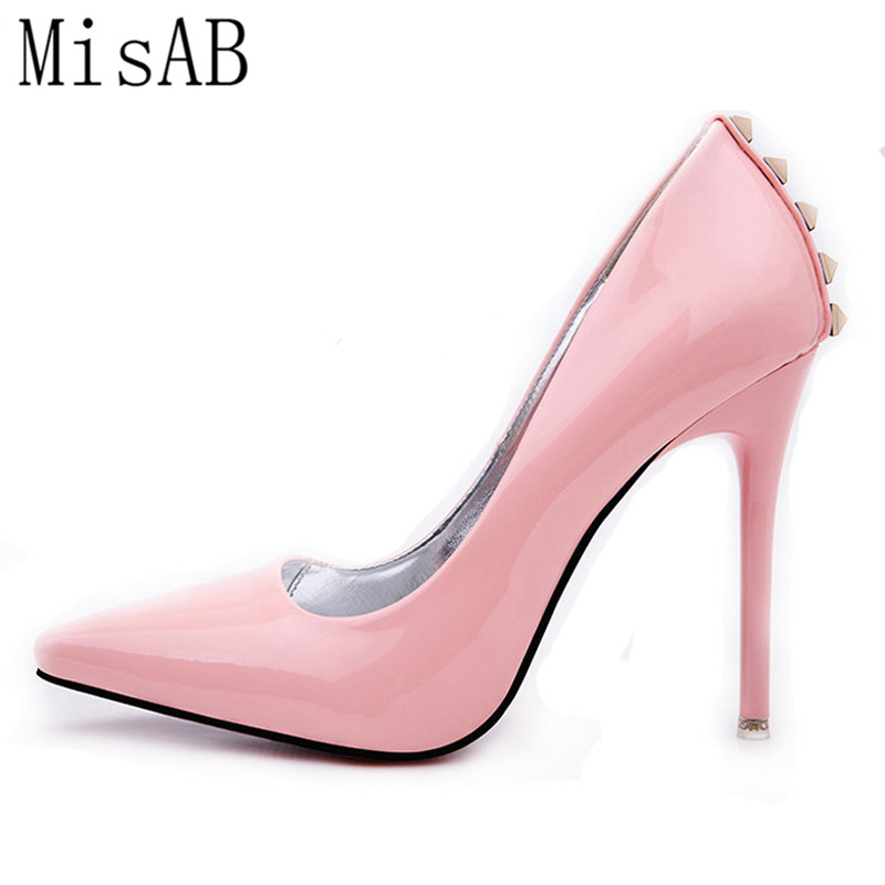 2016 Brand Shoes Woman High Heels Women Pumps Stiletto rivets Thin Heel Shoes pink Pointed Toe High Heels Wedding Shoes ALF123 aidocrystal shoes woman high heels women pumps stiletto thin heel women s shoes pointed toe high heels wedding shoes size 35 42