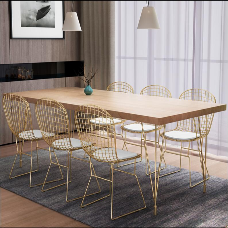 Nordic iron chair set simple modern household iron cafe dining table