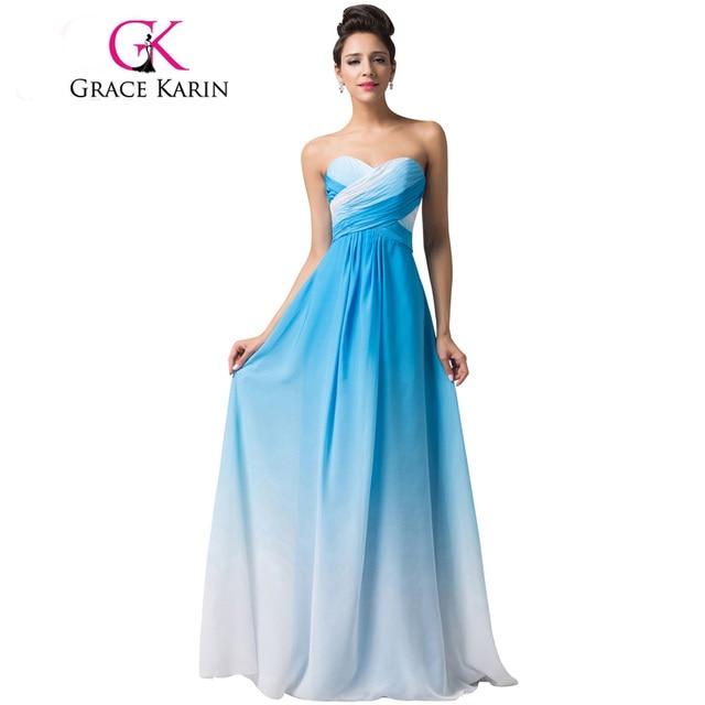 Grace Karin Elegant Long Prom Dresses Green Blue Pink abendkleider ...