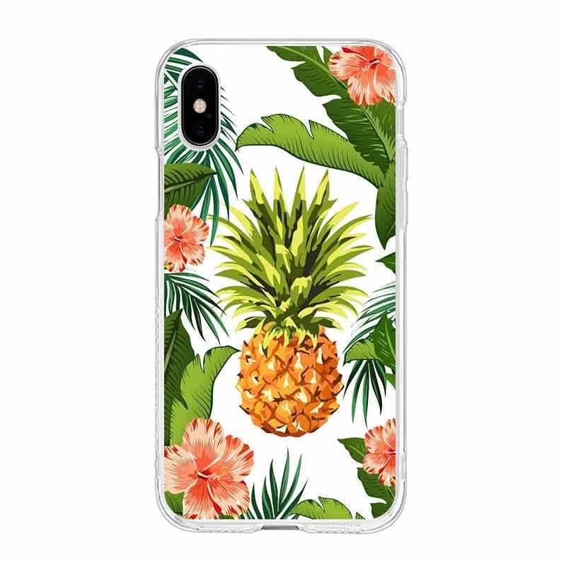 لينة واضحة TPU جراب هاتف زهرة ليف روز pineappl epetunia ل فون 6 6 S زائد 7 7 زائد 8 زائد فون X 5 s 4 s C041